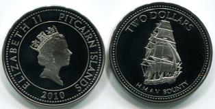 Pitcairn 2 Dollars 2010 copper-nickel crown features the Bounty