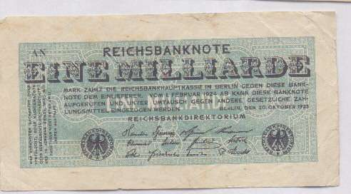 1 Milliarden (Billion) Mark October 1923