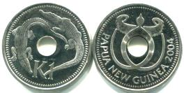 Papau New Guinea 1 Kina 2004 Crocodiles KM6a