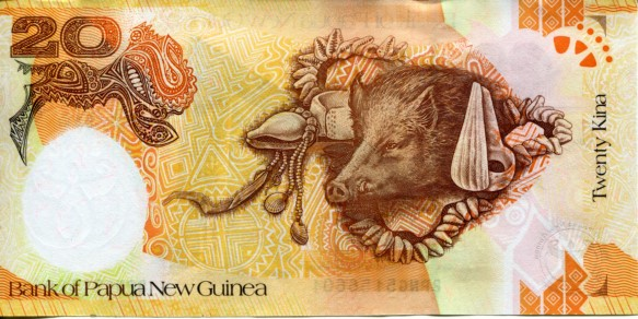 Papau New Guinea 20 Kina 2008 - pictures boar