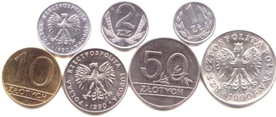 Poland 1990 transitional coin set: from communism to Republic,