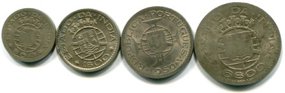 Set of 4 flattened Portuguese India coins