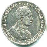 Prussia 5 Mark 1913-1914 Military Bust KM536