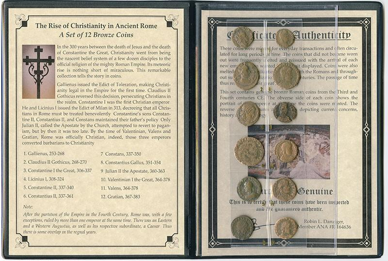 Set of 12 Ancient Roman coins in folder - The Rise of Christianity