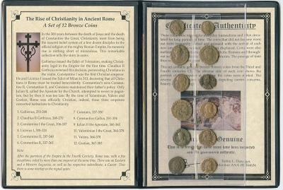 The Rise of Christianity in Ancient Rome - A set of 12 bronze coins