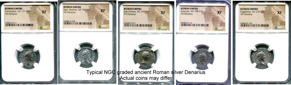 Ancient Roman silver Denarii graded by NGC