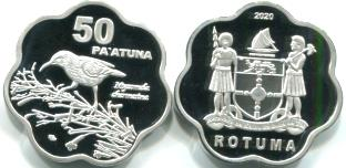 Rotuma 50 Pa'atuna 2020 coin depicts Rotuma myzomela bird