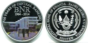 Rwanda 5000 Francs2014 50th Anniversary of National Bank