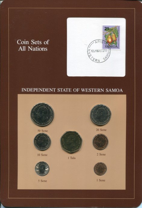 "Westerm Sampa ""Coin Sets of All Nations"" 7 coins and postage stamp set."