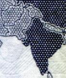 Detail of conterversial map on back of 2020 Saudi 20 Rial note showing Kashmir as an independent nation