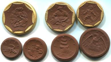 Set of 7 red porcelain coins from Saxony, Germany struck by the Meissen Porcelain Manufactory