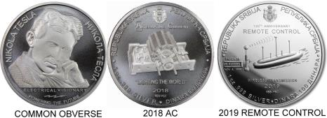 Serbia Silver Tesla coins - 2018 Alternating Current, Induction Motor, 2019 Remote Control