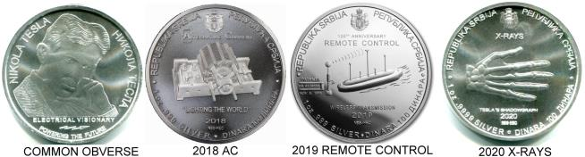 Serbia Silver Tesla coins - 2018 Alternating Current, Induction Motor, 2019 Remote Control, 2020 X-Rays