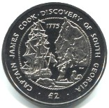 South Georgia and South Sandwich Islands 2 Pounds 2015 240th Anniversary of Discovery by Captain James Cook