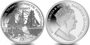 South Georgia and South Sandwich Islands 2 Pounds 2017 Imperial Trans-Antarctic Expedition 2 Pounds
