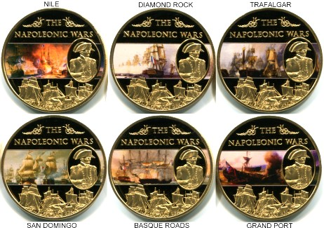 Saint Helena Set of 6 25 Pence, 2013, Naval Battles of the Napoleonic Wars
