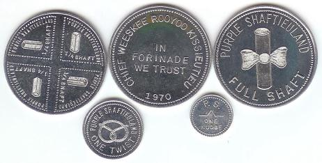Set of 5 aluminum coins from Purple Shaftieuland