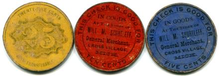 WILL M. SHURTLEFF, CROSS VILLAGE, MICH. SET OF 3 CARDBOARD TOKENS