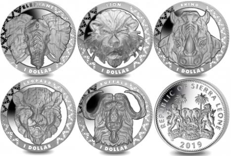 Sierra Leone set of five 2019 African wildlife coins: Elephant, Lion, Rhino, Leopard and Cape Buffalo