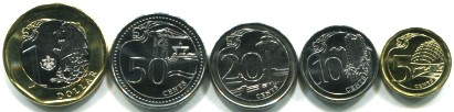 Singapore 5 coin set 5 Cents to 1 Dollar