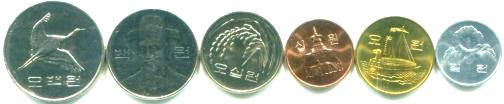 South Korea 6 coin set