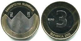 Slovenia bi-metallic 3 Euros 2011 20th Anniversary of Independence coin