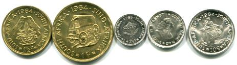 South Africa 5 coin set: 1/2 Cent - 10 Cents, 1961-1964 KM56-60