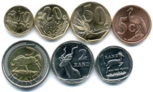Reverses of South African coins feature native plants and wildlife