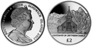 South Georgia and South Sandwich Islands 2 Pound coin, 2013, Whaler's Chruch at Grytviken.