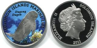 Solomon Island 10 Dollars 2011 Dugon silver Proof