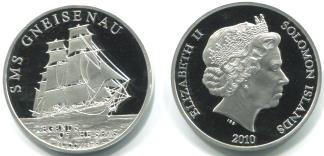 Solomon Islands silver proof coin depicting sailing ship SMS Gneisenau