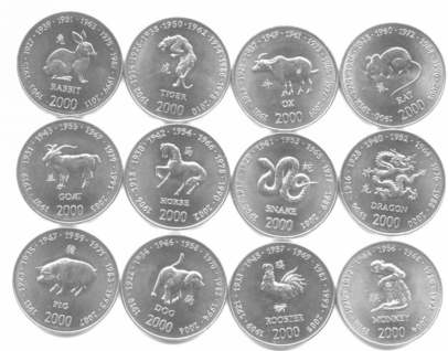 Somalia 2000 Chinese Zodiac coin set