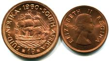 British South Africa 1/2 and 1 Penny, 1960