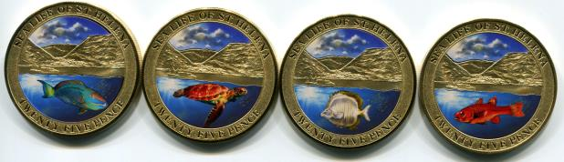 St. Helena coins feature multi-color sealife
