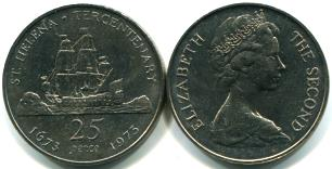 St. Helena 25 Pence 1973 Tercentenary, copper-nickel, KM5