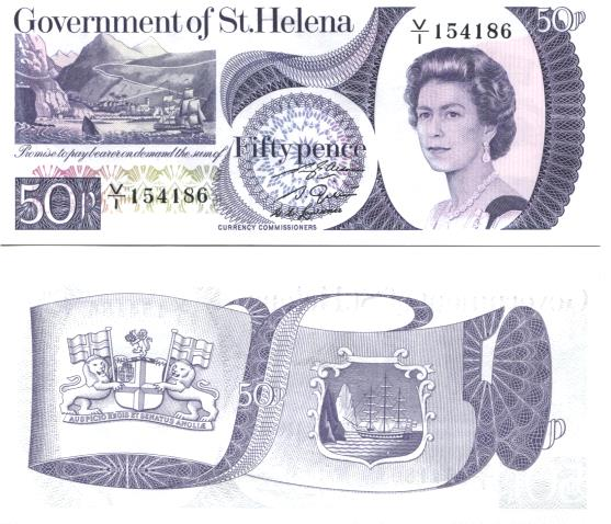 St. Helena 50 Pence note issued in 1979 P52