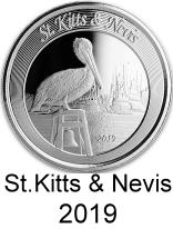 St, Kitts & Nevis 1 troy oz. silver 2 Dollar coins 2019 depicting pelican