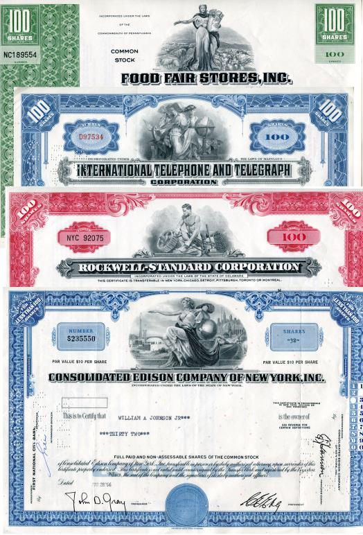 Stock Certificates: Food Fair Stores, International Telephone & Telegraph, Rockwell-Standard, Consolidated Edison