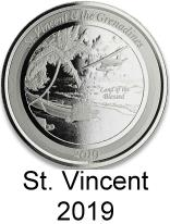 St. Vincent & The Grenadines 1 troy oz. silver 2 Dollar coins 2019 depicting sea plane and boat