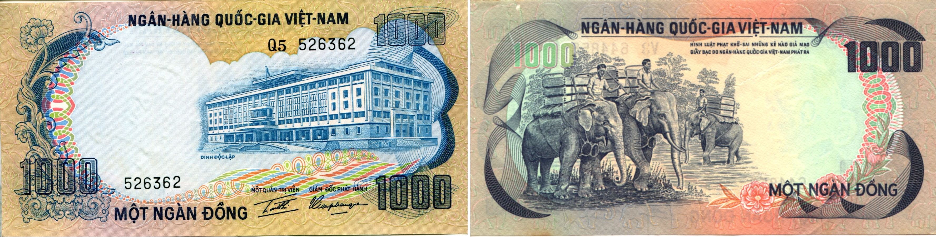 SOUTH VIETNAM 1,000 1000 Dong 1972 P-34 Elephant UNC Uncirculated