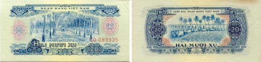 South Vietnam Liberation Currency, 20 Xu dated 1966 (1975) P38