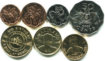 Swaziland 7 coin set, 2007-2011 5 Cents - 5 Emalageni