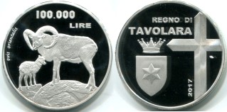Kingdom of Tavolara 100,000 Lire 2017