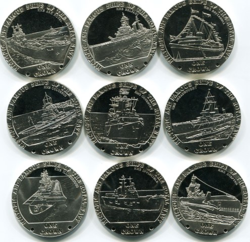 Tristan da Cunha set of modern sailing ship coins