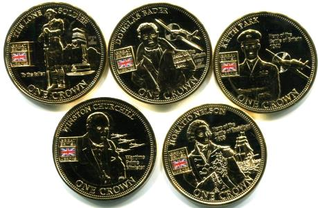 British Heroes coin set from Tristan da Cunha