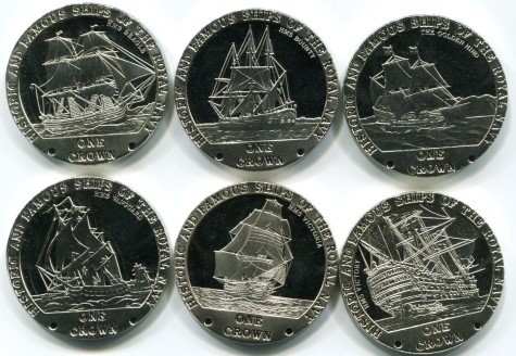 Tristan da Cunha set of 6 Sailing Ship coins