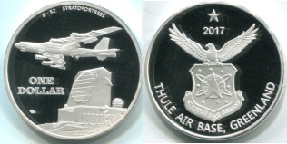 Thule Air Base 1 Dollar 2017 depicting B-52 Bomber