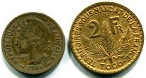 Togo 1 and 2 Francs, 1924 - 1926, KM2 & KM3