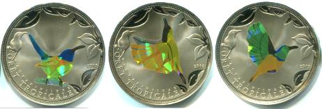Set of 3 Togo prismatic bird coins: 100 Francs 2010