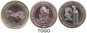 3 BI-METALLIC COINS OF TOGO